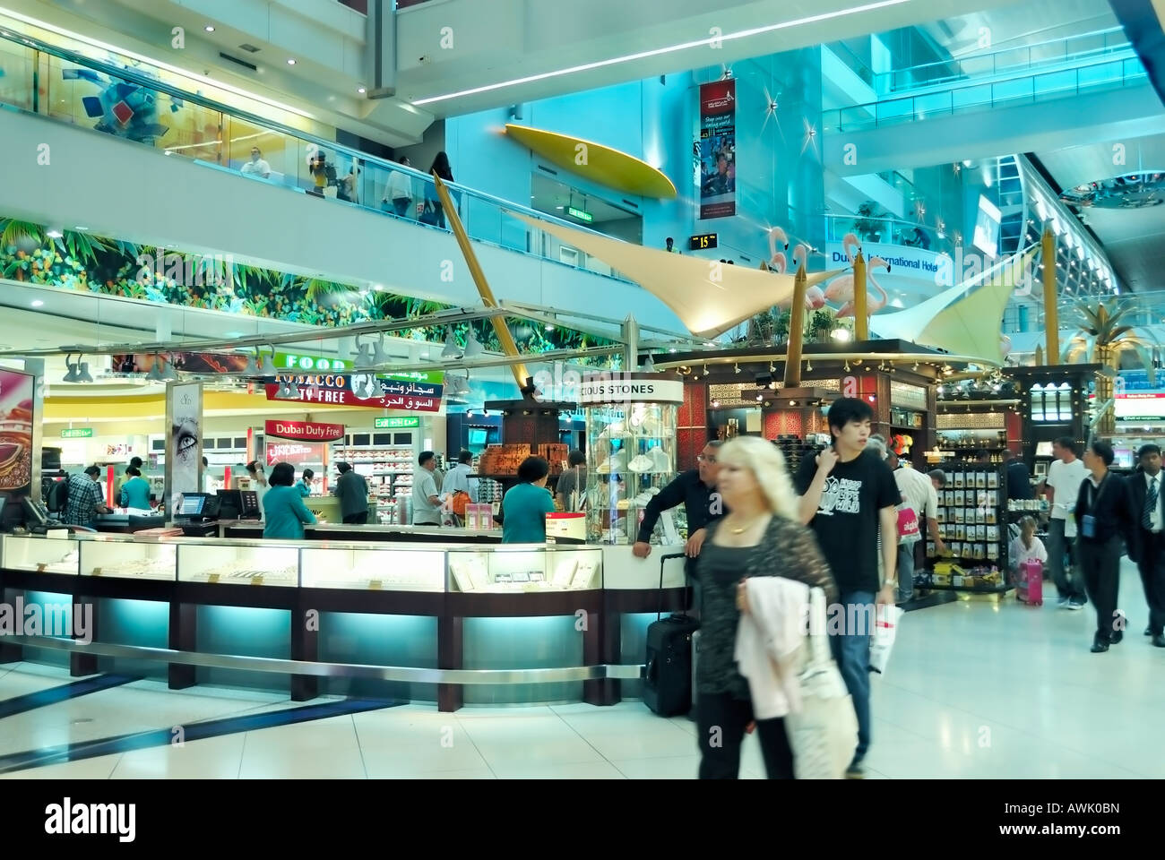 Dubai, 'United Arab Emirates' Airport 'Shopping Center' people inside Modern 'Shopping Mall' - Stock Image