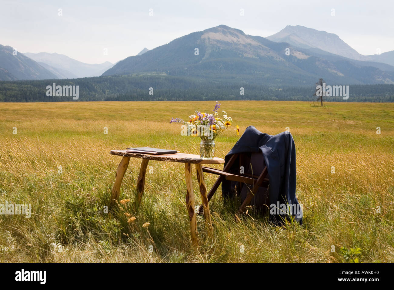Table in a field of golden grass to register a wedding in Rocky mountains Alberta Canada - Stock Image