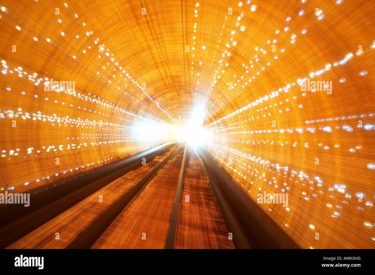 The colourful Bund Sightseeing Tunnel train under the Huang Pu River connecting Puxi and Pudong districts in Shanghai - Stock Image