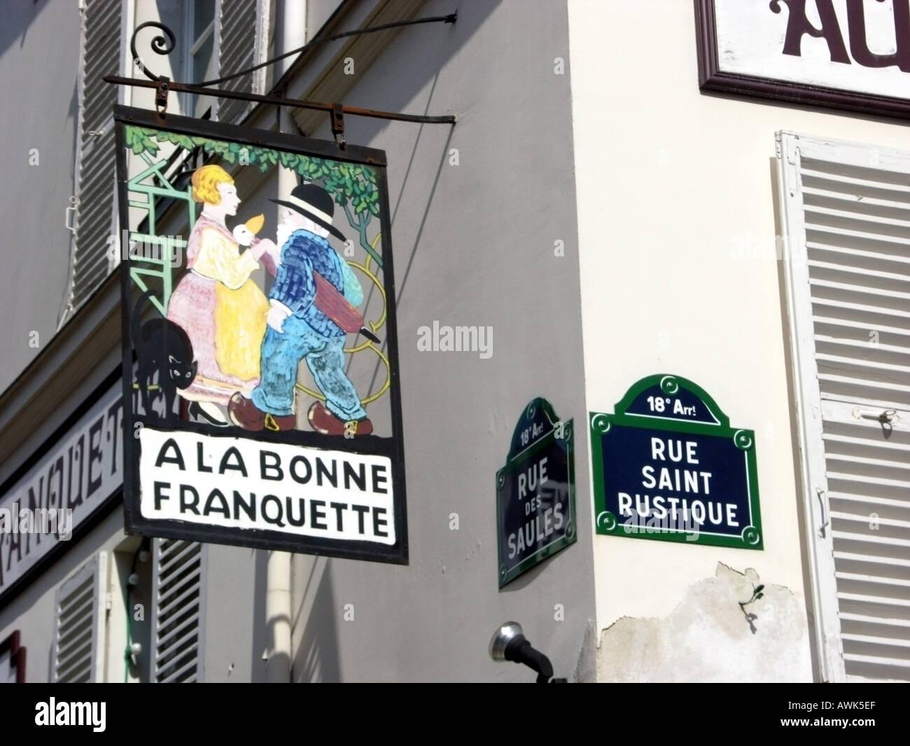 france ile de france paris monmartre restaurant sign a la bonne franquette or at the good nosh - Stock Image