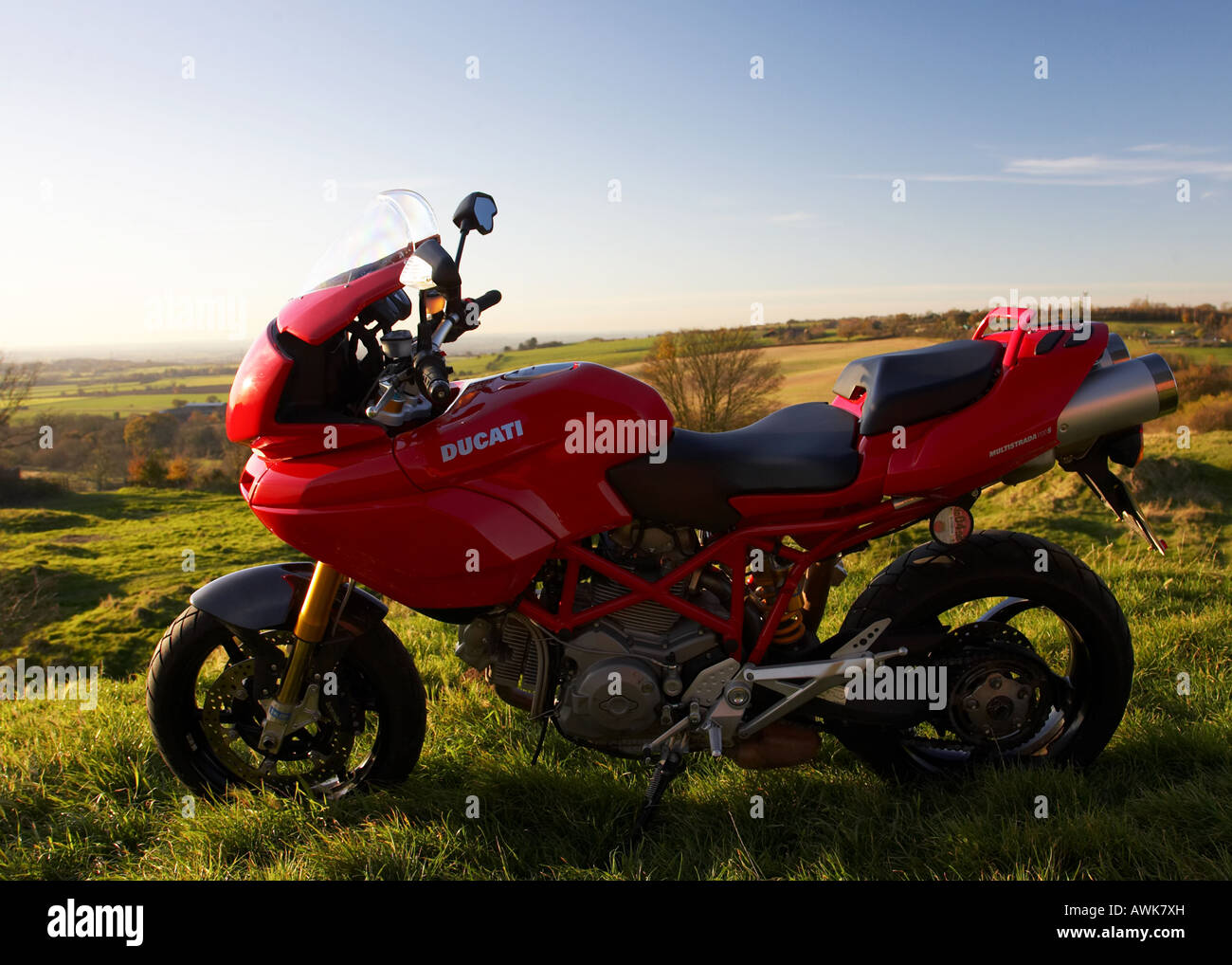 Ducati motorcycle in the english countryside - Stock Image