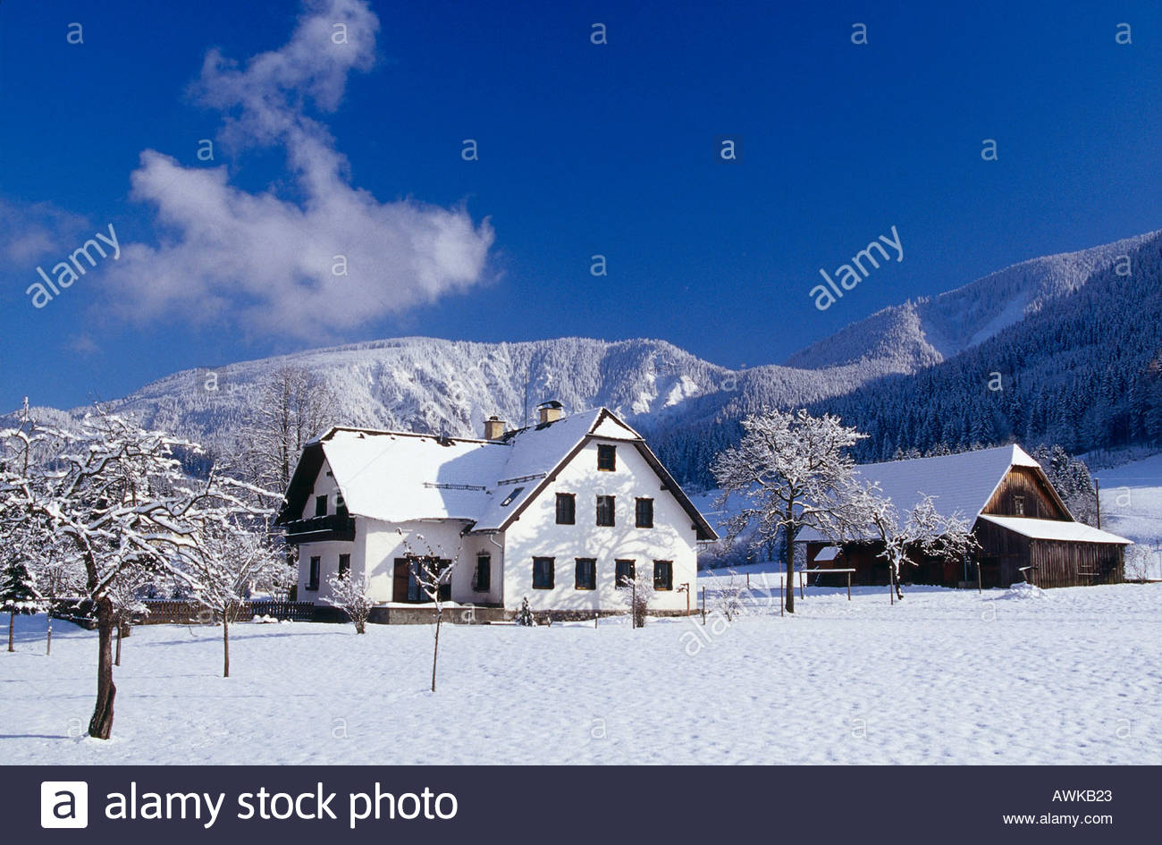 Buildings in snow covered landscape, Lassing, Lower Austria, Austria Stock Photo