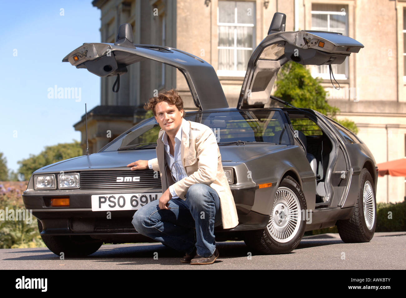 STEPHEN BOWMAN OF THE CLASSICAL POP GROUP BLAKE WITH HIS DE LOREAN CAR AUG 2007 Stock Photo