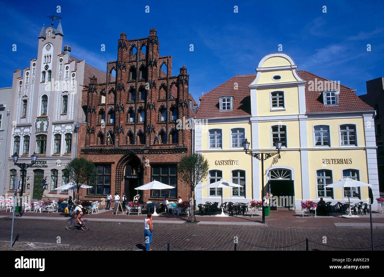 Facade of restaurant, Wismar, Baltic Sea, Mecklenburg-Vorpommern, Germany - Stock Image