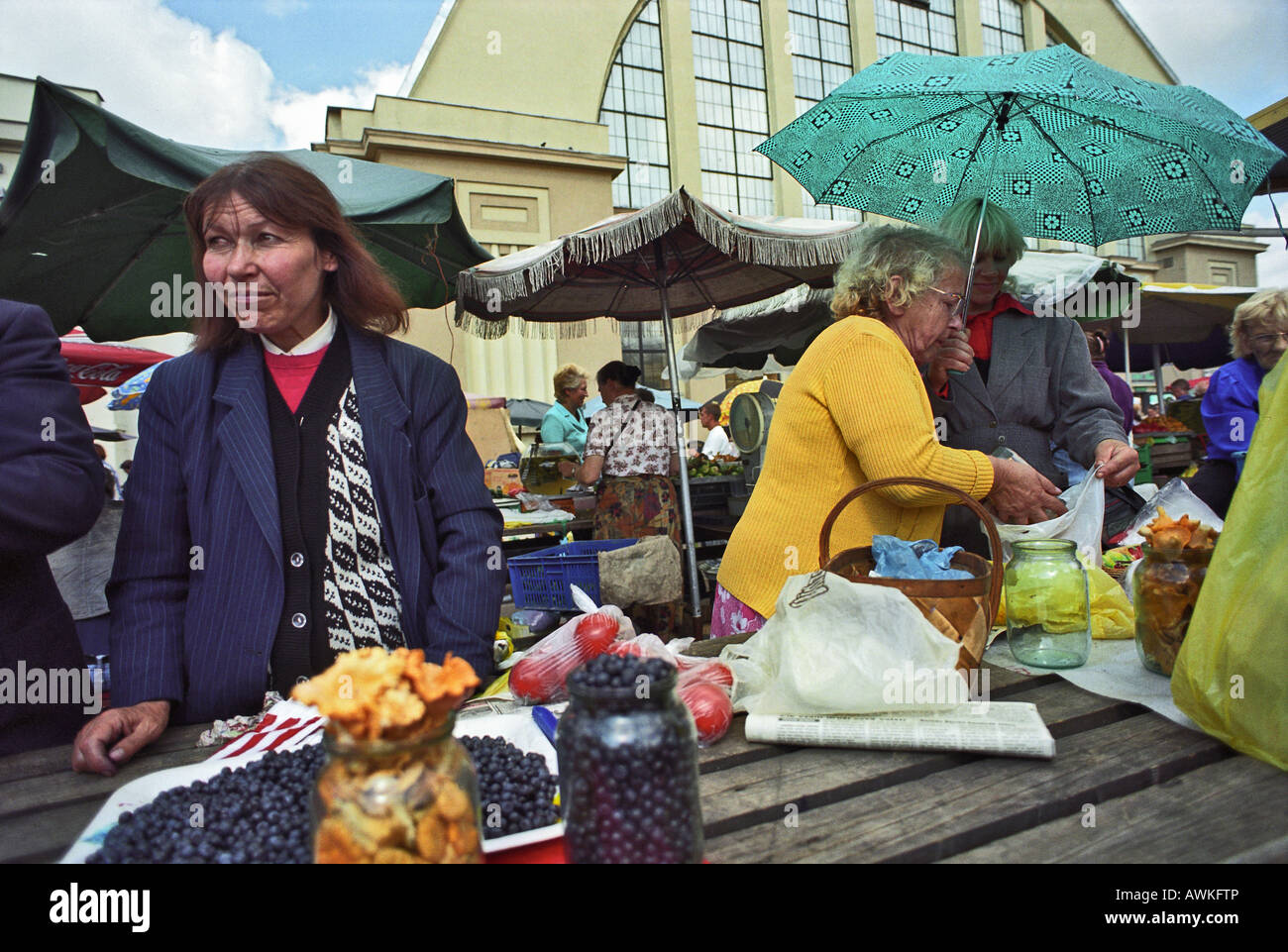 Market scene at the central marketplace in Riga, Latvia - Stock Image