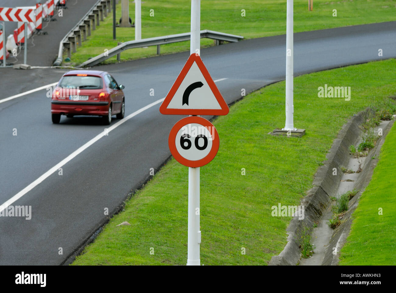 Traffic Sign On Road And Car Maximum Speed Limit 60 Km H Caution