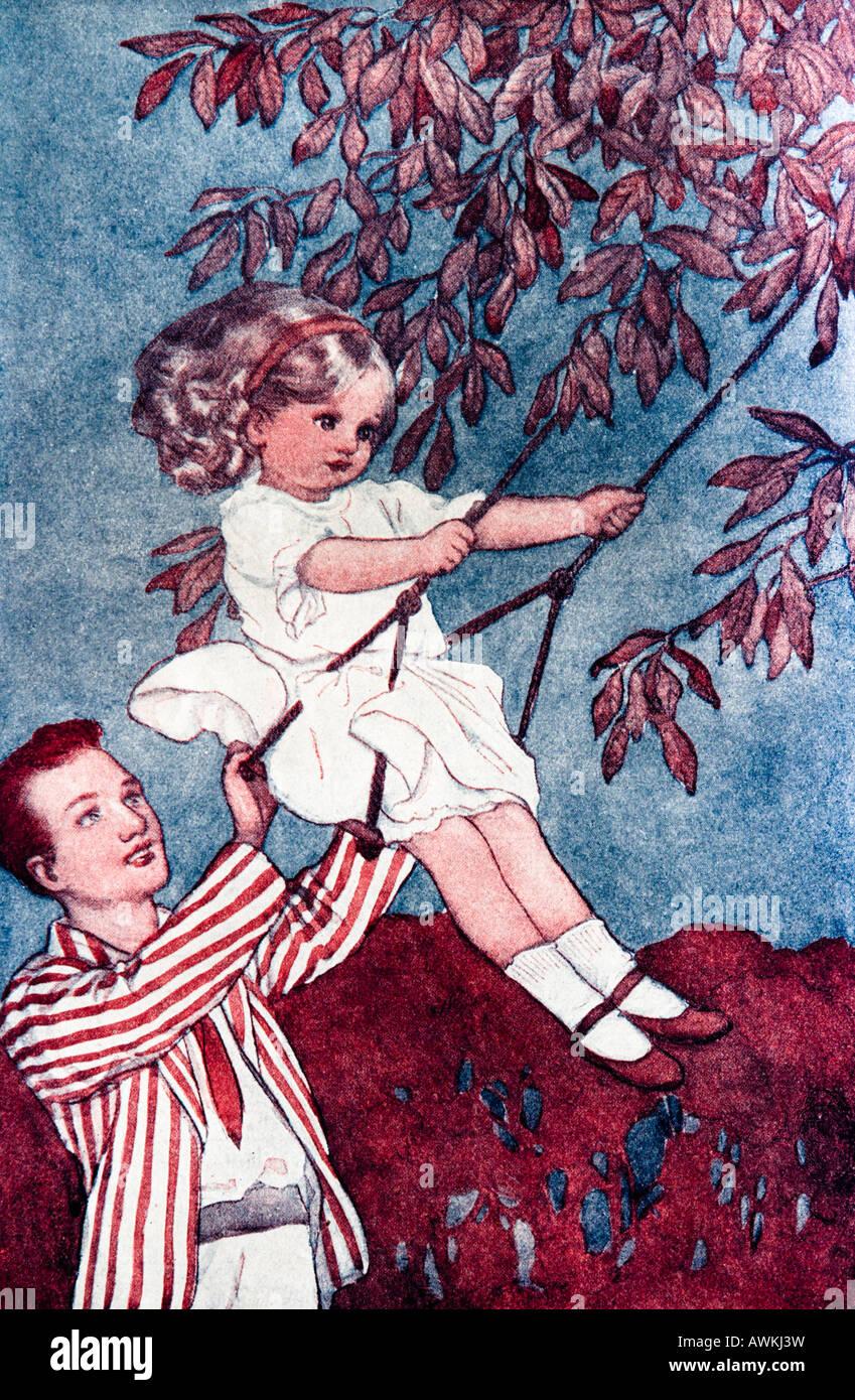 Little Girl on a Swing Illustration - Stock Image