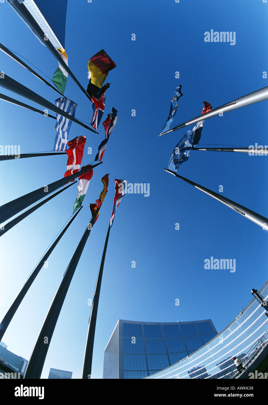 European flags, low angle view - Stock Image