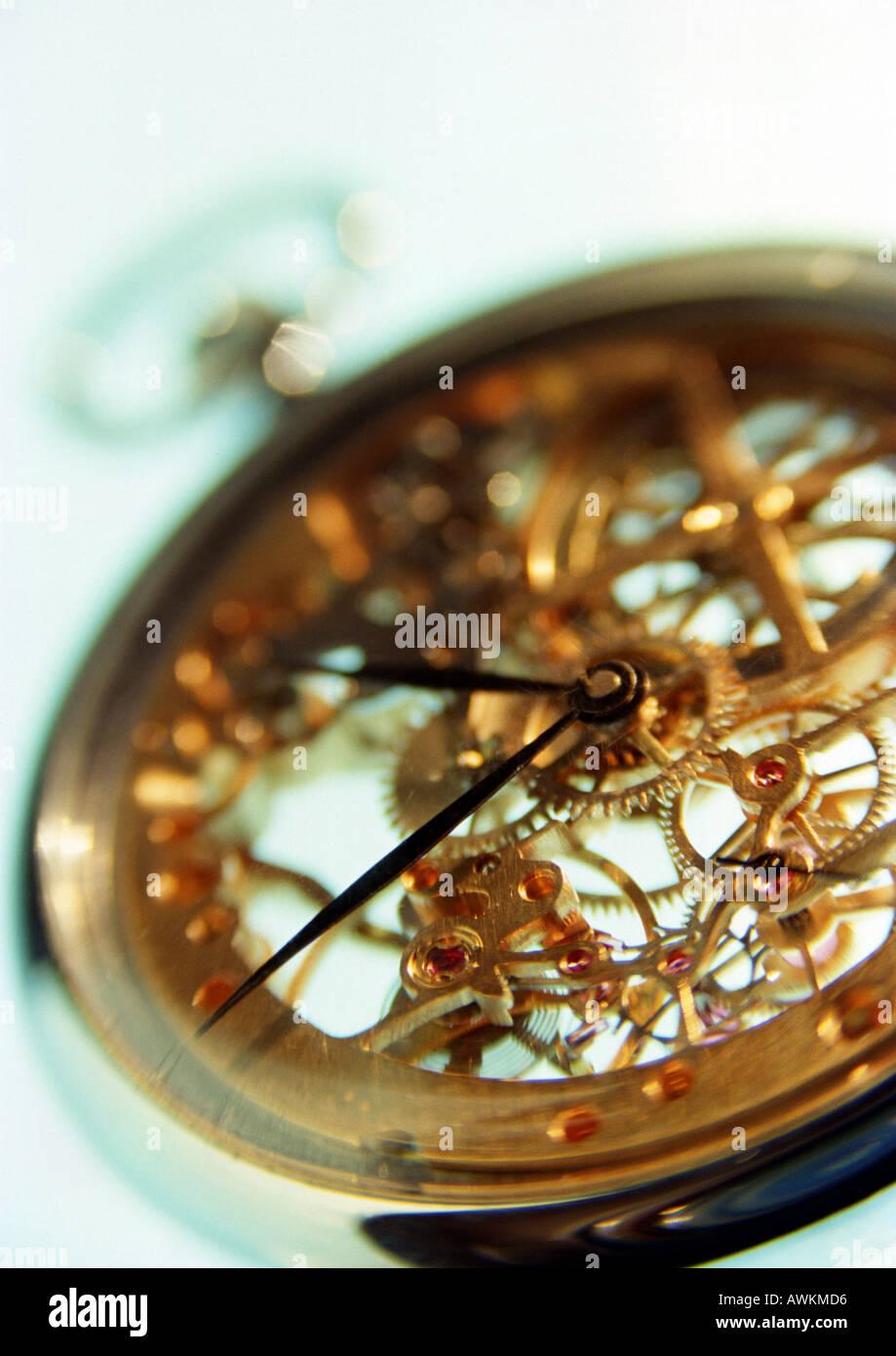 Clockwork of pocket watch, close-up - Stock Image