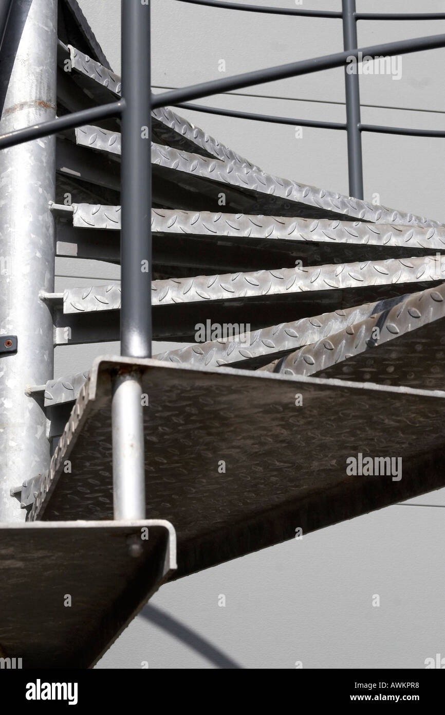 Beau Galvanised Steel Metal Fire Escape Spiral Staircase Outside Office And  Warehouse Building In Western England UK