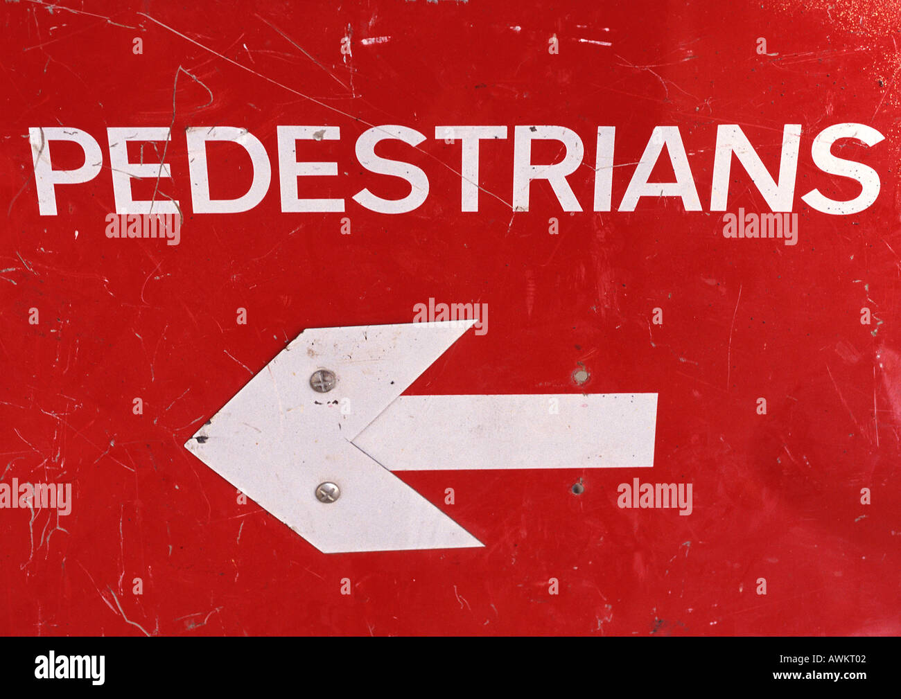 Directional sign for pedestrians, close-up - Stock Image