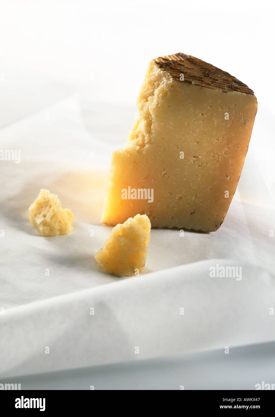 Chunk of cantal cheese, close-up - Stock Image