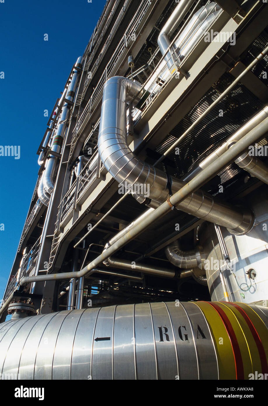 Thermal power plant, low angle view - Stock Image