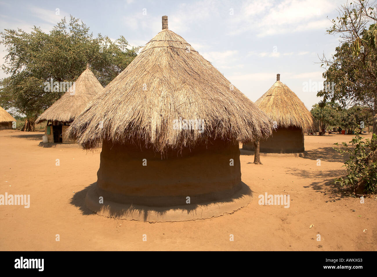 Traditional mud huts in Kawaza village South Luangwa Valley Zambia Africa Stock Photo