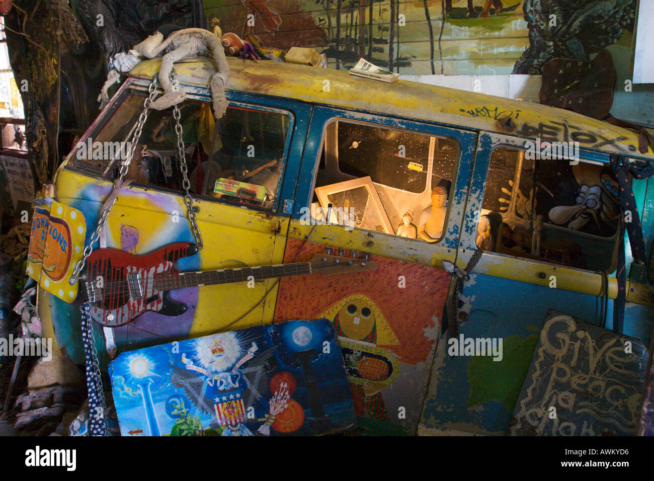 Bizarre exhibit of an old VW dormobile at the museum on Cullen Street in the hippie town of Nimbin NSW Australia Stock Photo
