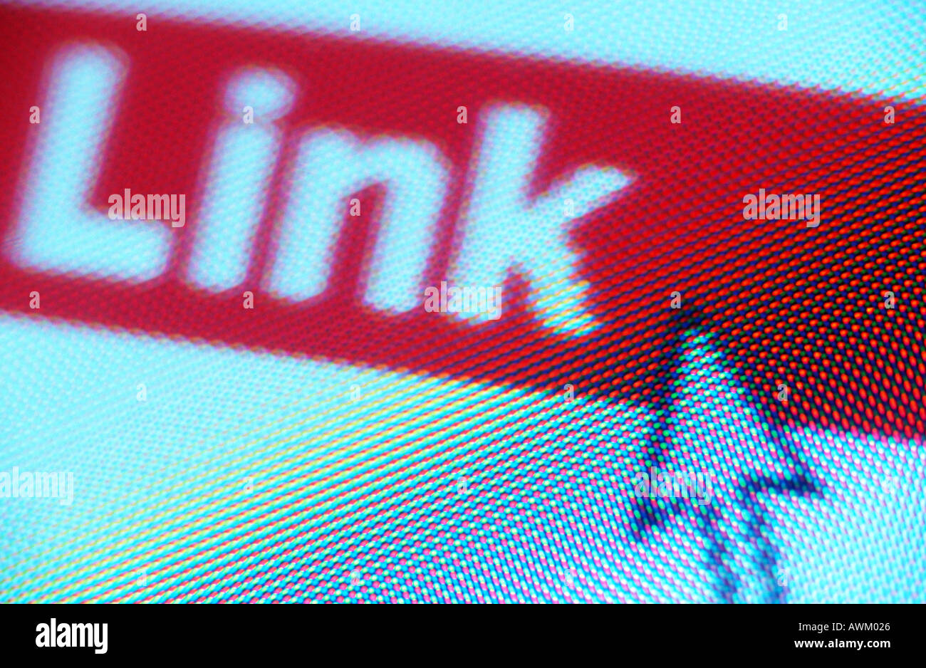 Close-up of cursor on Link icon - Stock Image