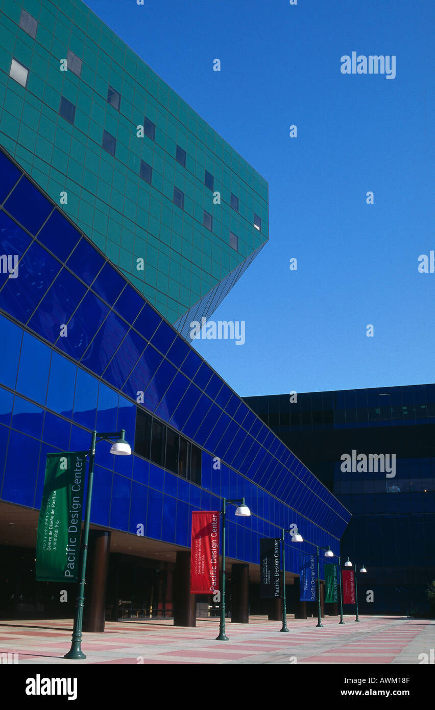 Low angle view of exhibition center, Pacific Design Center, Los Angeles, California, USA Stock Photo
