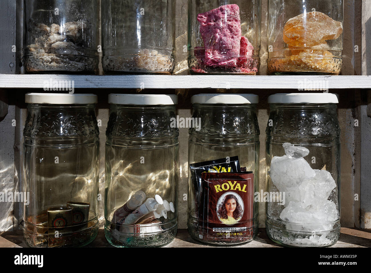 Minerals And Henna Stored In Glass Jars At A Berber Pharmacy Stock