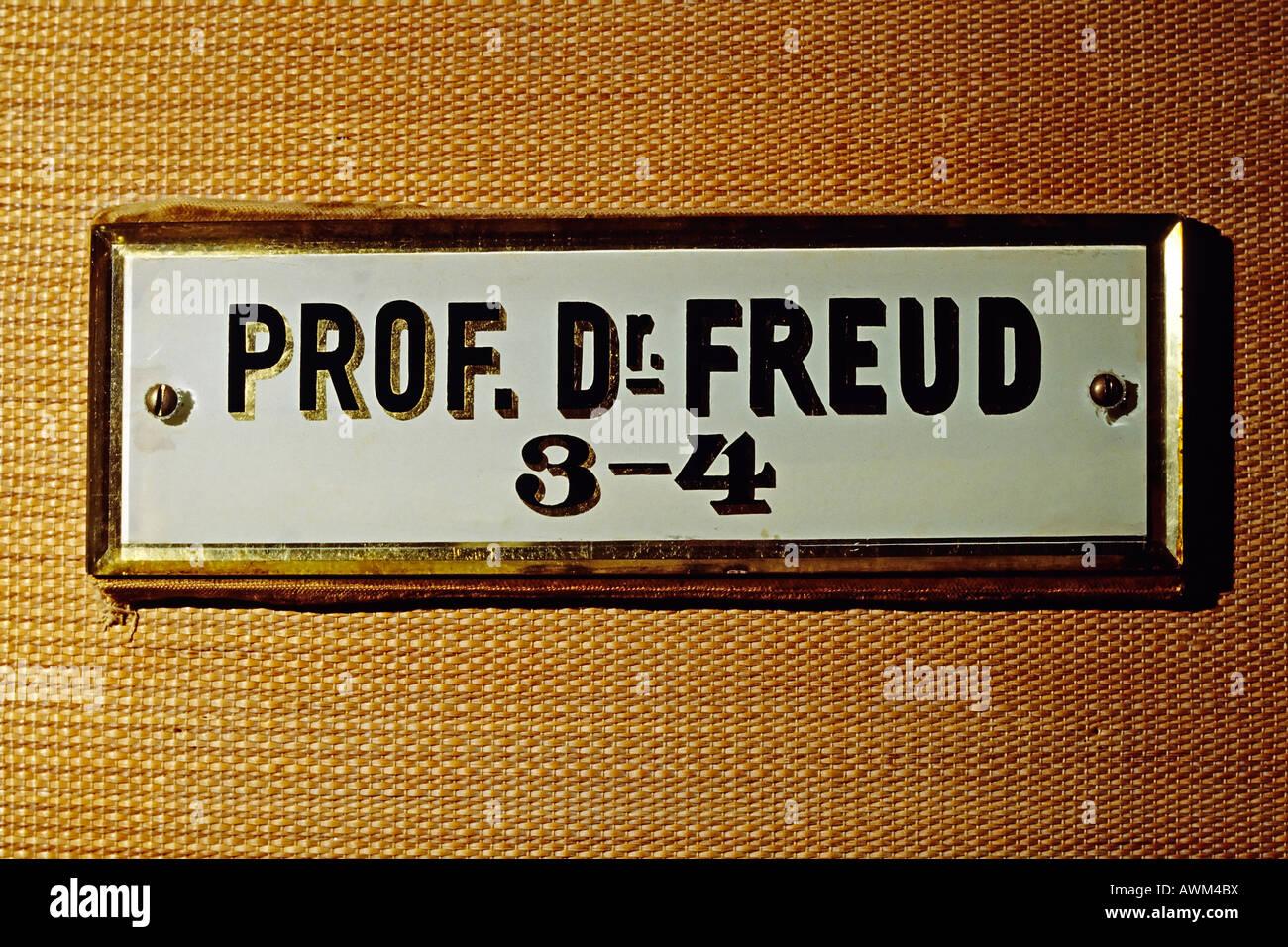 Original name plate at Sigmund Freud's office, Berggasse St., Vienna, Austria, Europe - Stock Image