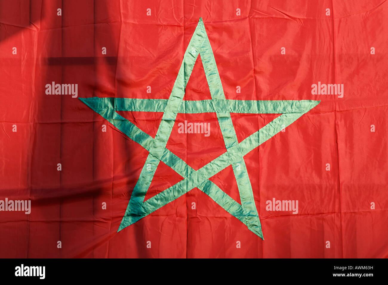 Moroccan national flag, Marrakech, Morocco, Africa Stock Photo
