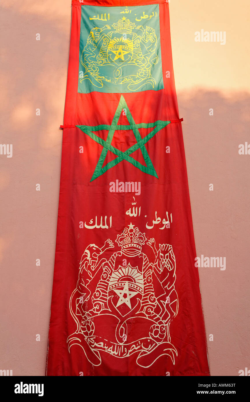Flag with Moroccan coat of arms, Marrakech, Morocco, Africa Stock Photo