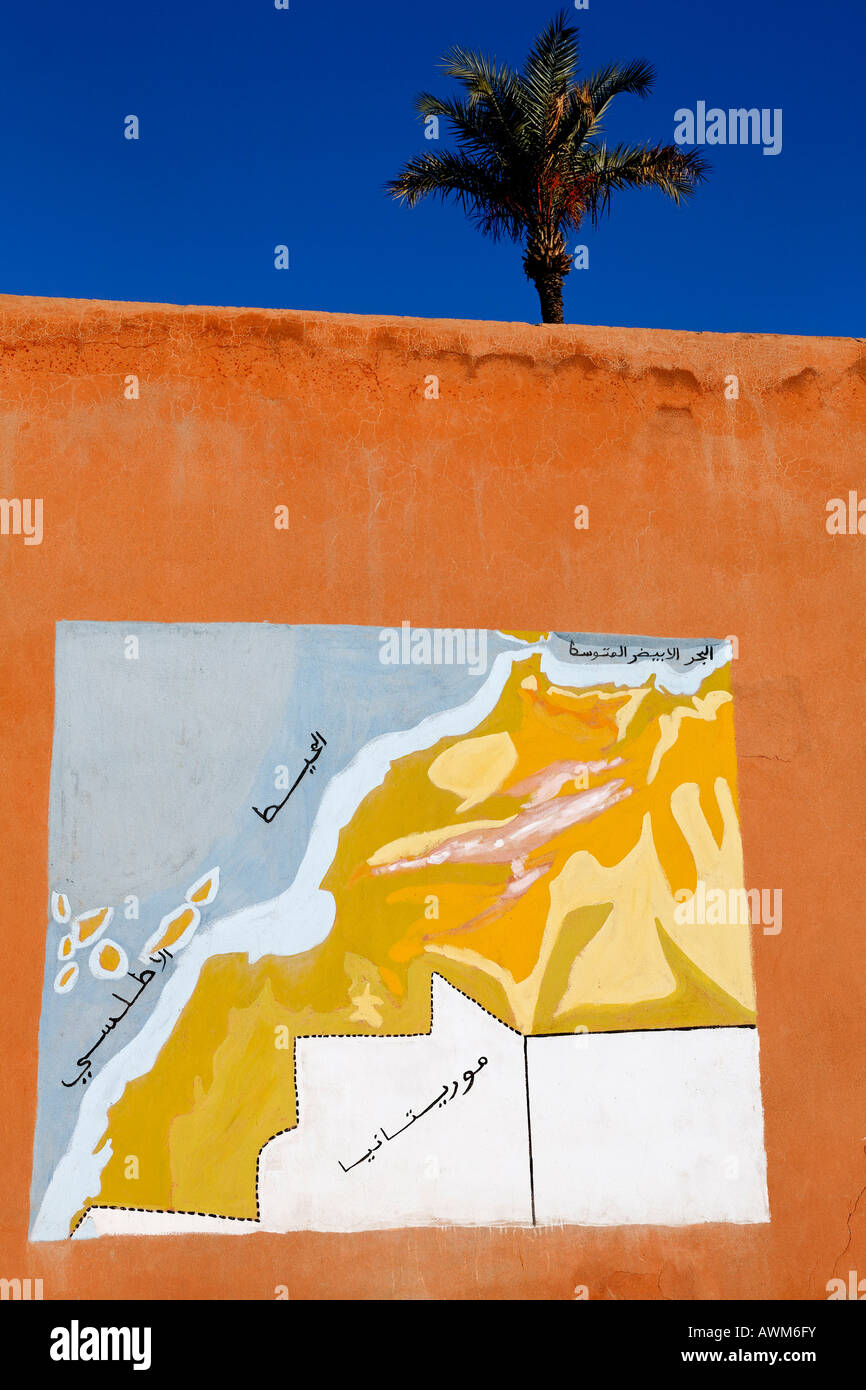 Geographical map of Morocco including Western Sahara, mural painting, Marrakech, Africa - Stock Image