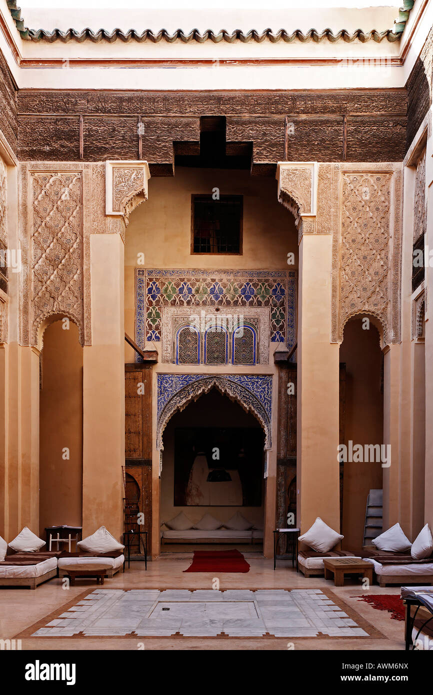 Patio of Riad Dar Charifa, literature café, Medina of Marrakech, Morocco, Africa Stock Photo