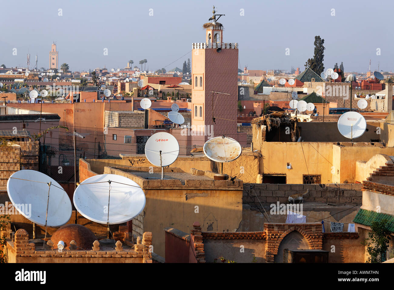 View of roofs with huge satellite dishes, Medina, Marrakech, Morocco, Africa - Stock Image