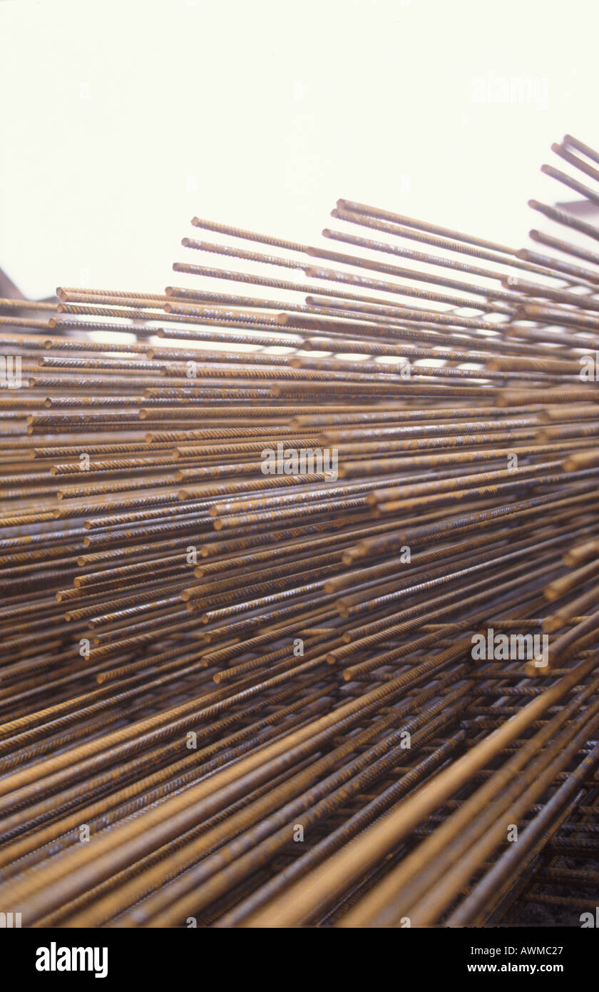 Close-up of metal reinforcement bars - Stock Image