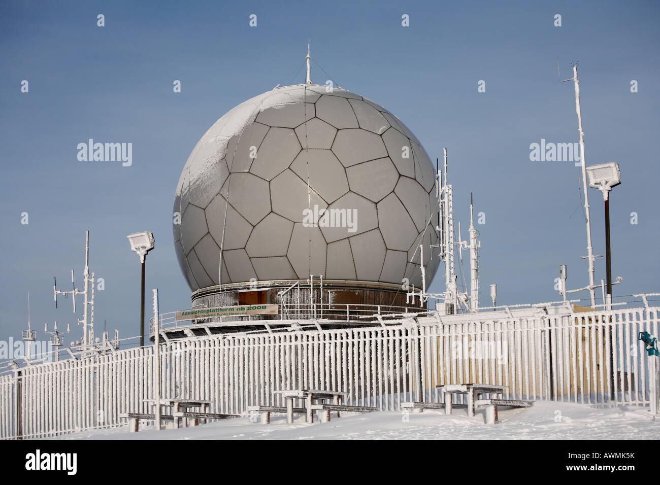Radar dome (radome), Mt. Wasserkruppe, Rhoen Mountains, Hesse, Germany, Europe Stock Photo