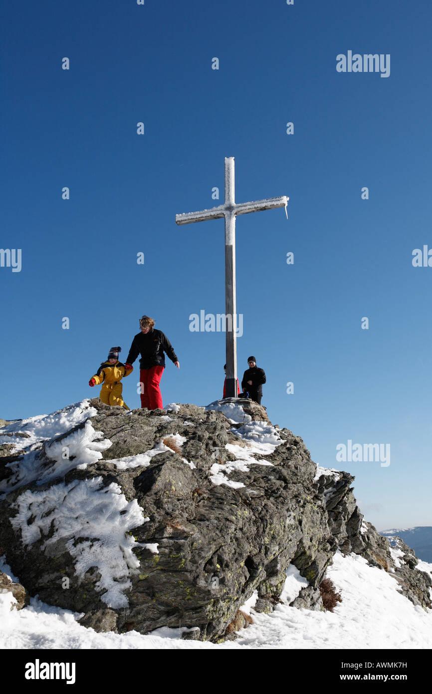 Summit cross on Mt. Grosser Arber, Nationalpark Bayerischer Wald (Bavarian Forest National Park), Lower Bavaria, - Stock Image