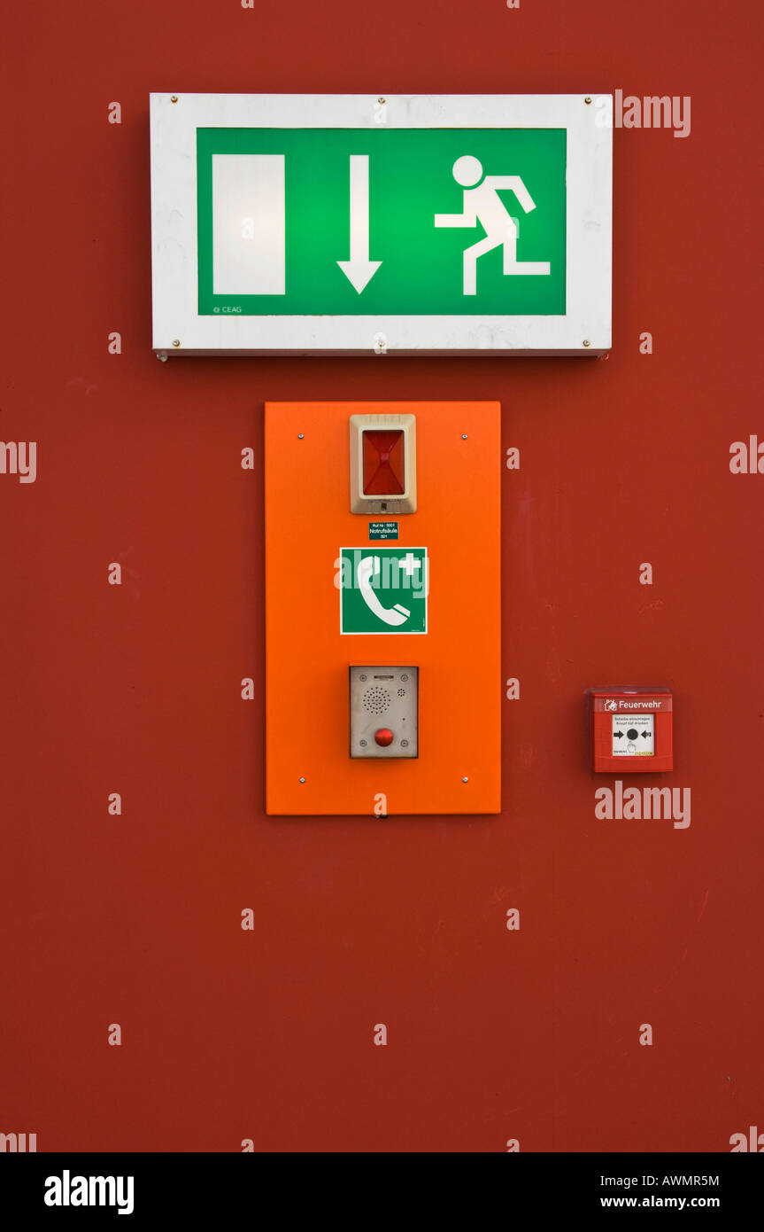 Airport, parking level. security indication sign, emergency exit, North Rhine-Westphalia, Germany - Stock Image