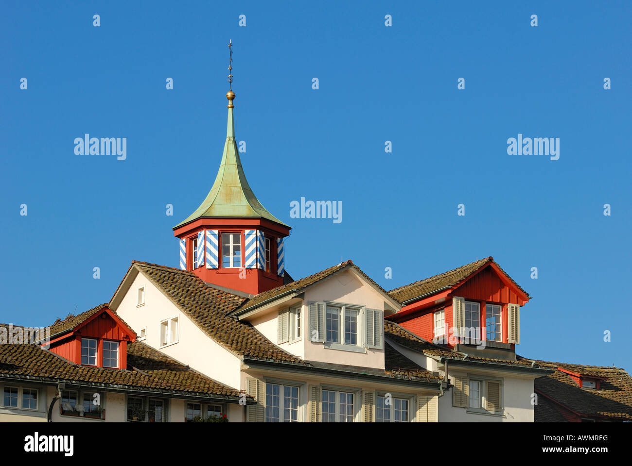 Zuerich - dormers and turrets in the old town - Switzerland, Europe. Stock Photo
