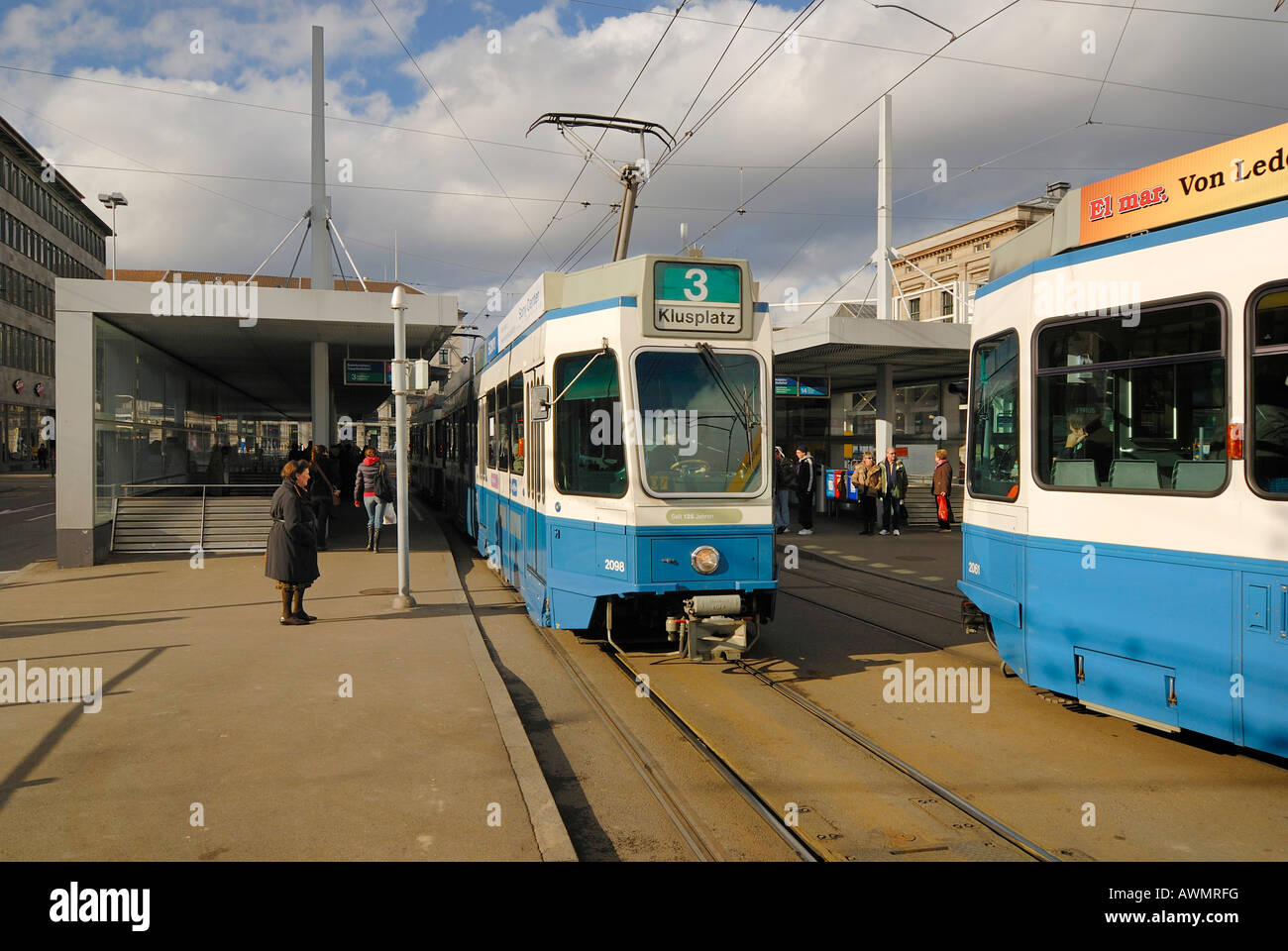 Zuerich - tram stop near central station - Switzerland, Europe. Stock Photo