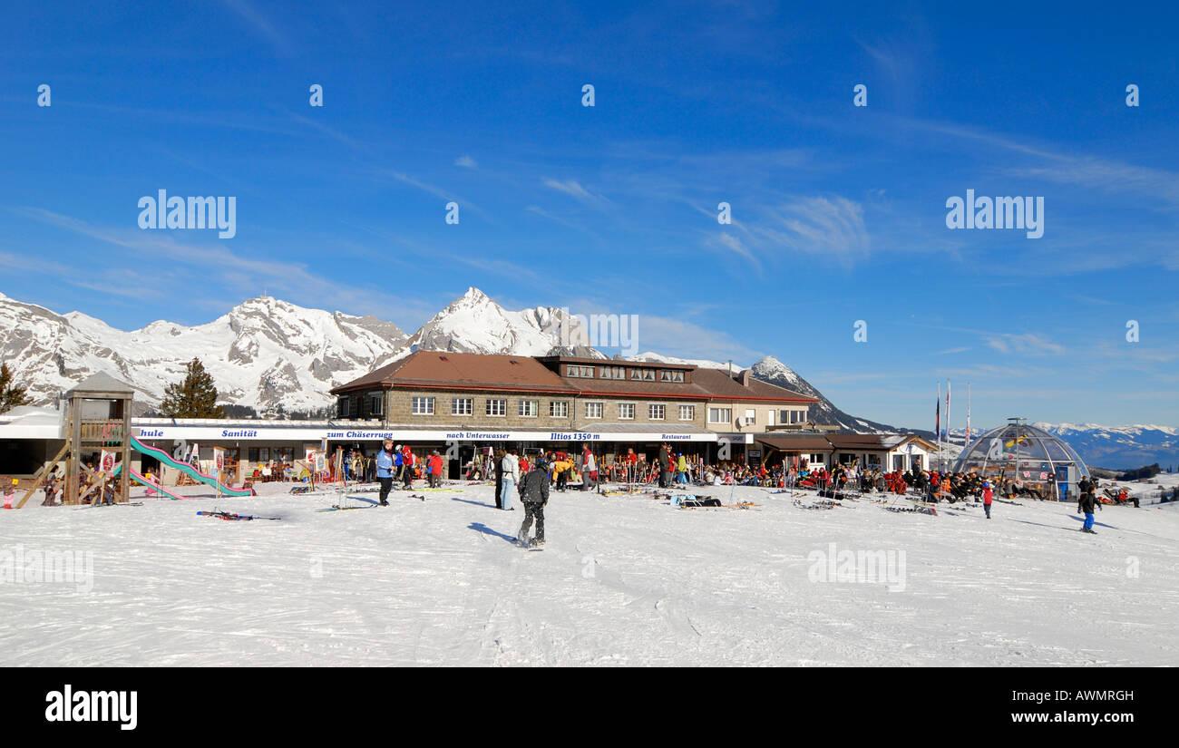 Restaurant on the Iltios mountain - Unterwasser, Canton of St. Gallen, Switzerland, Europe. Stock Photo