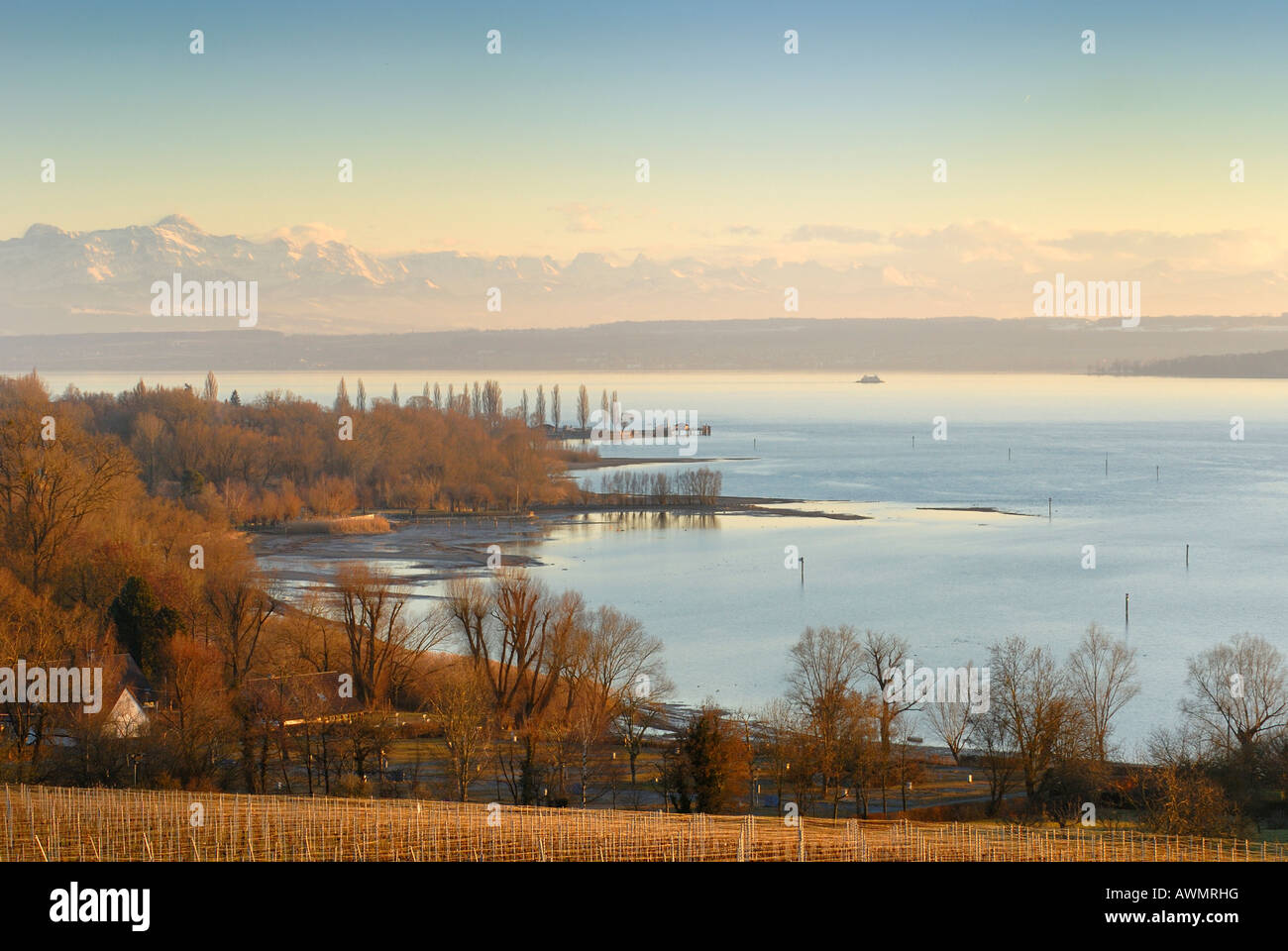 View over Lake Constance near Meersburg, Baden-Wuerttemberg, Germany, Europe - Stock Image