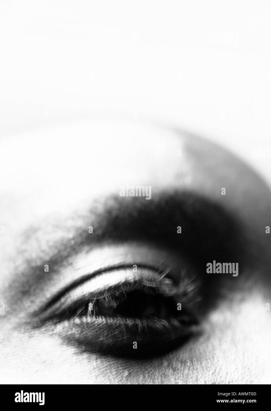 Man's eye, close up, black and white. - Stock Image