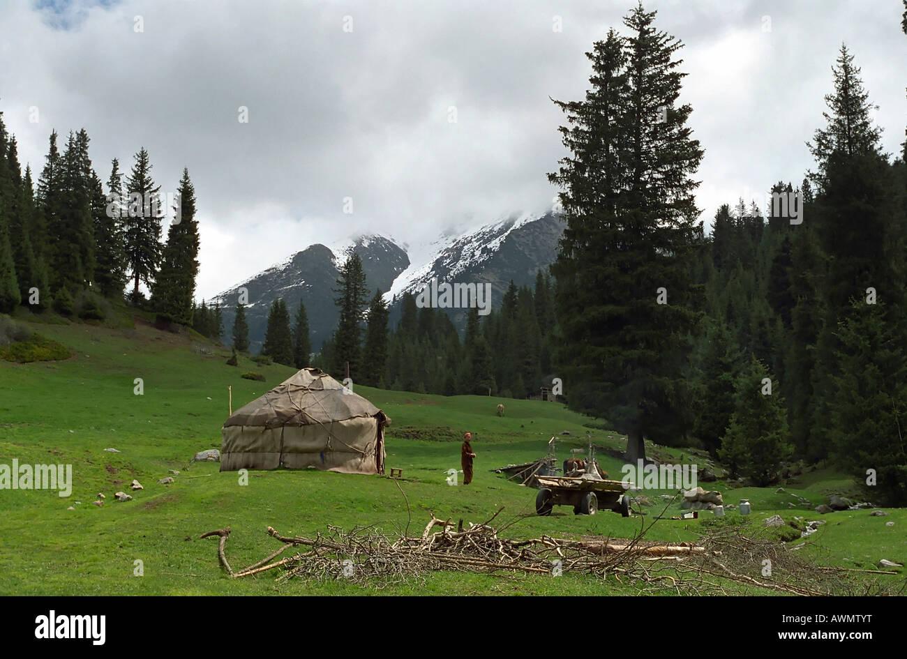 Kazakh national yurt. Akkol Canyon, Kazakhstan. Stock Photo