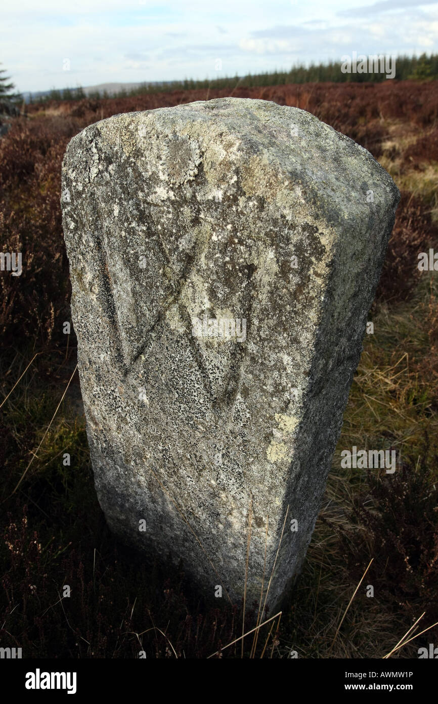 Old boundary stone marked with a w on the Gordon way path in Aberdeenshire, Scotland, UK - Stock Image