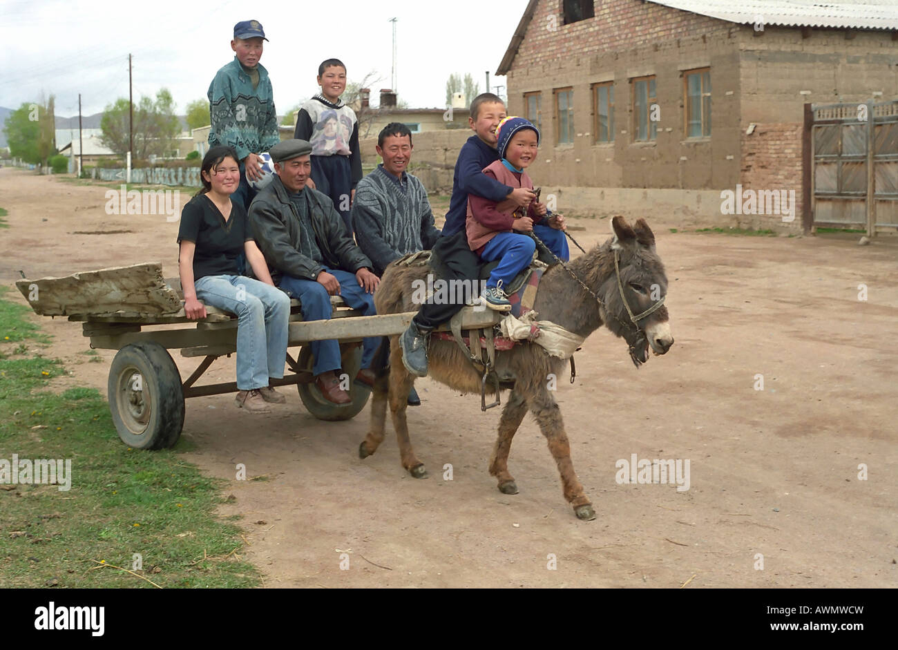 the-kazakh-family-on-donkey-cart-alma-at