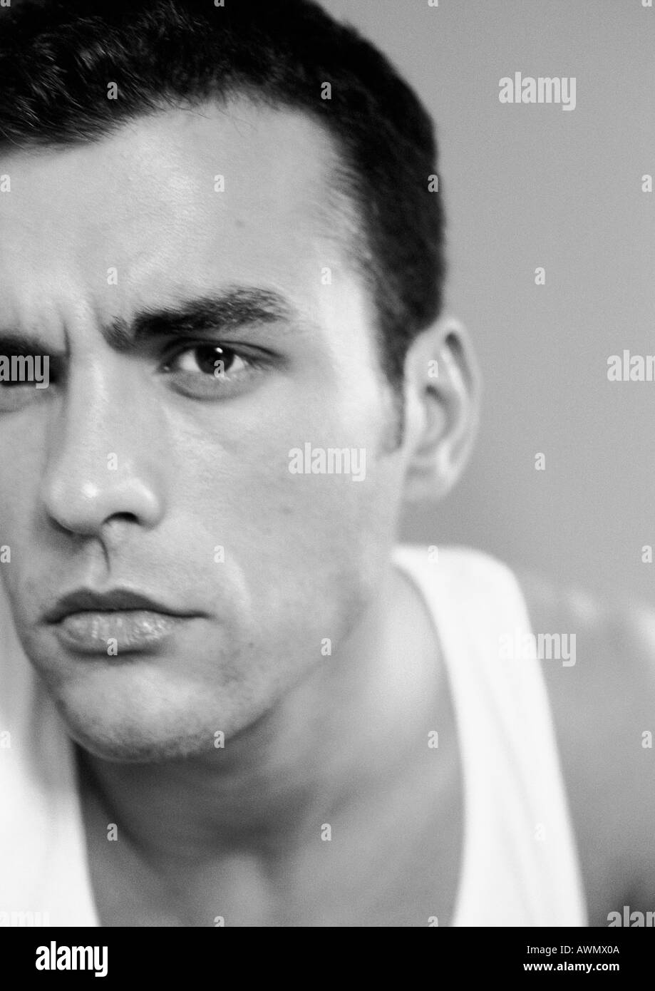 Man's head, partial view, close-up, black and white. - Stock Image