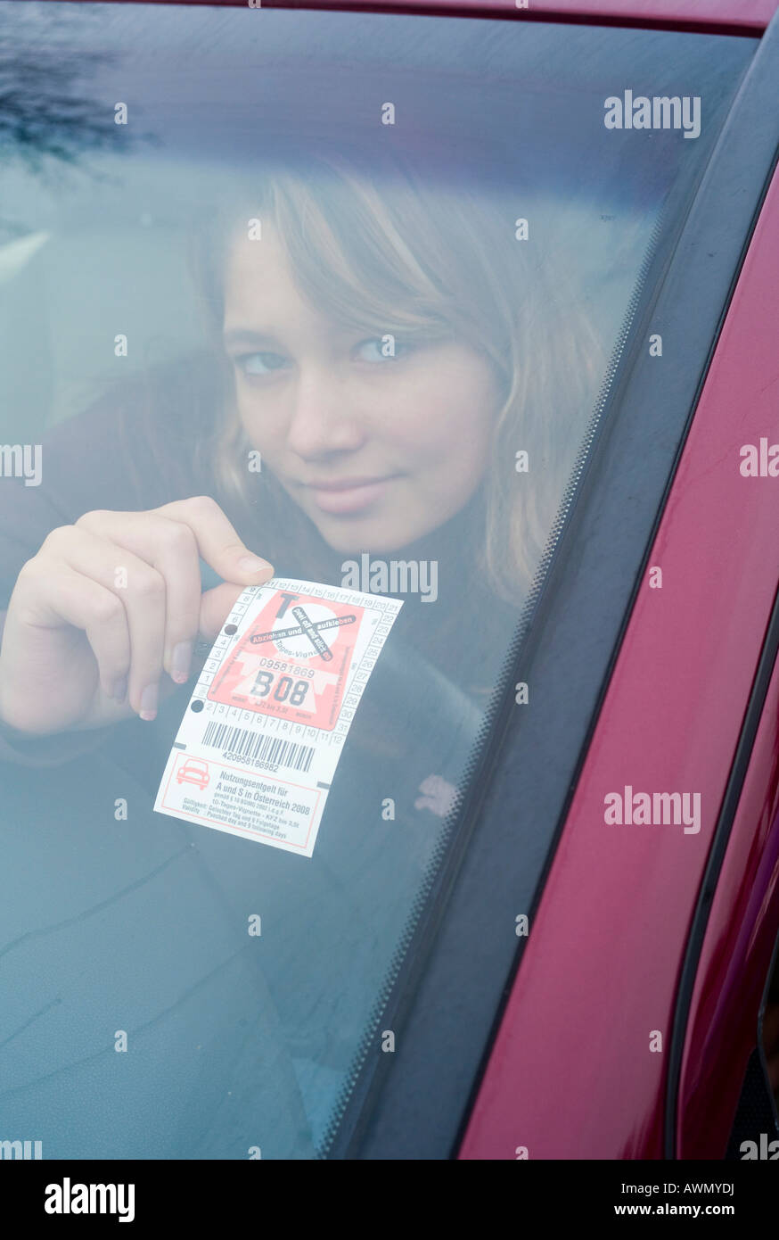 Austrian vignette for 2008 (highway toll sticker), Austria, Europe - Stock Image