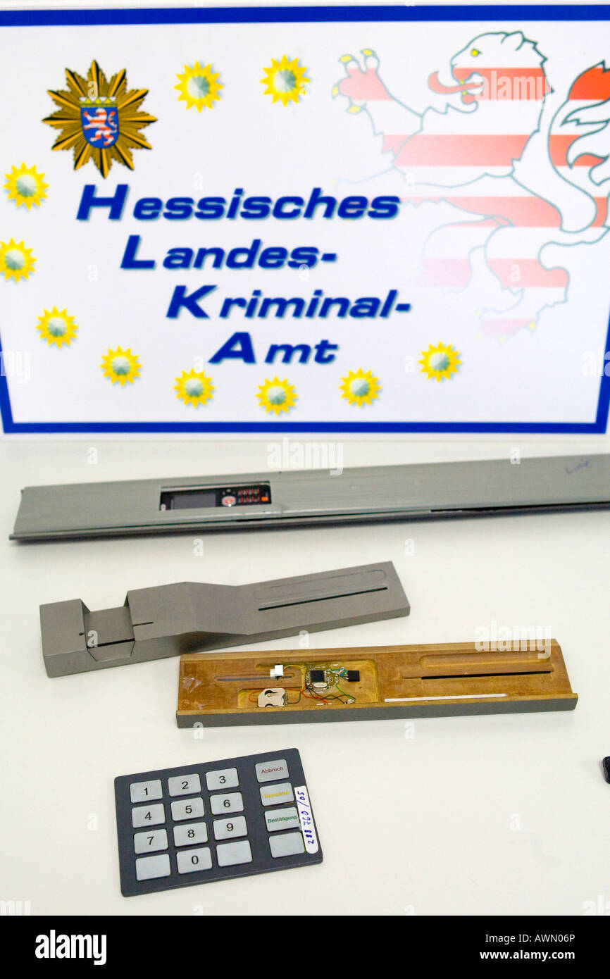ATM machines that have been tampered with seized by the state department of criminal investigation (Landeskriminalamt) Stock Photo