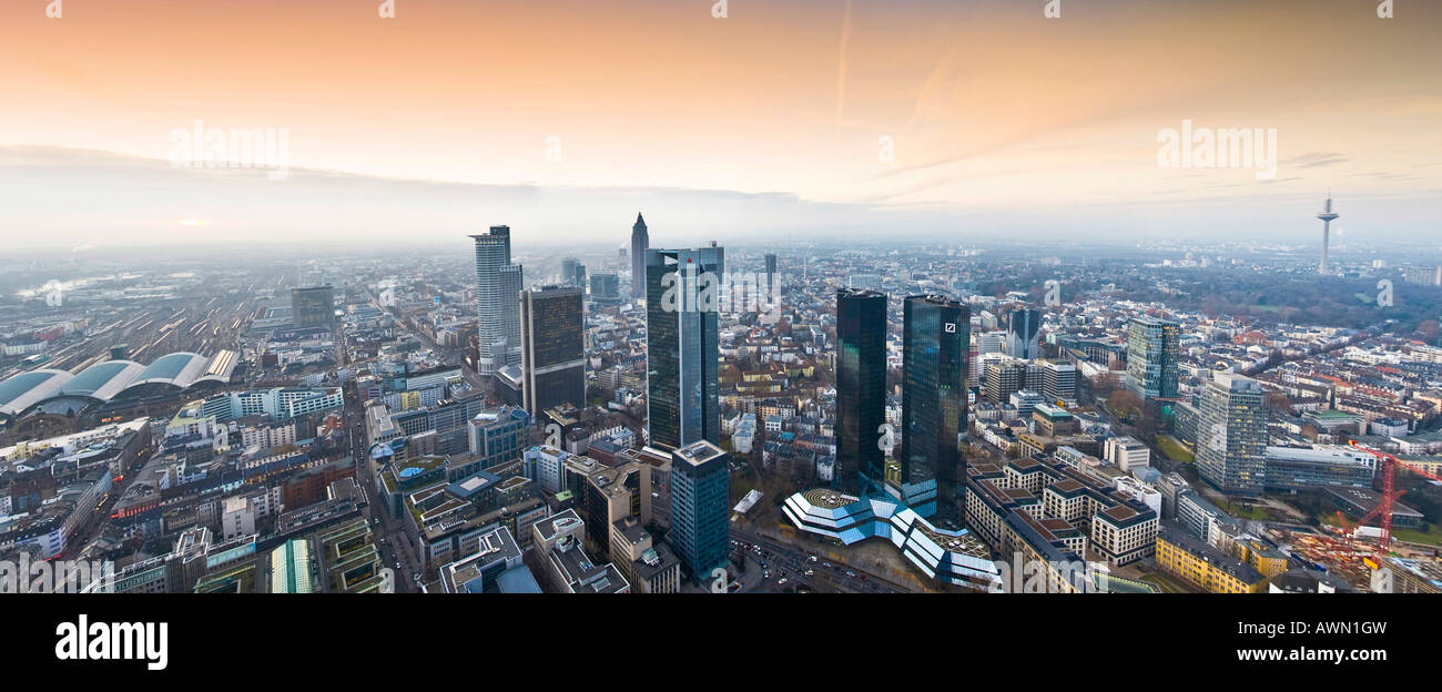Panorama shot, skyline featuring the Sparkasse- and Convention Towers and central rail station, sunset augmented - Stock Image