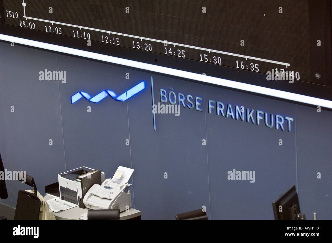 Overhead information sign listing website and opening hours at Frankfurt Stock Exchange, Frankfurt, Hesse, Germany, Europe Stock Photo