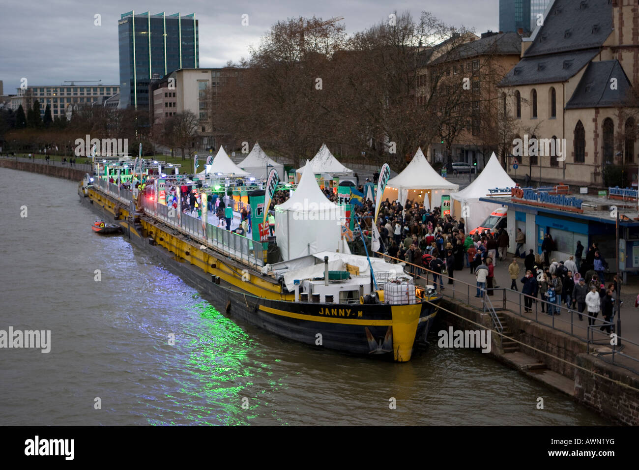 Ship with skating rink on deck anchored in Frankfurt, Hesse, Germany, Europe - Stock Image