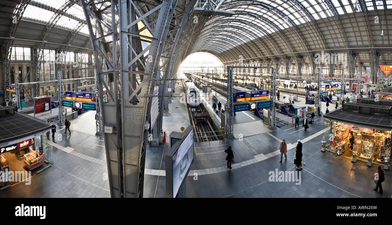 ICE or InterCityExpress German high-speed train ready to depart Frankfurt's central station, Frankfurt, Hesse, - Stock Image