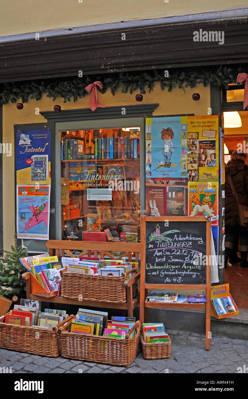 Storefront wares, Kraemerbruecke (bridge), Erfurt, Thuringia, Germany, Europe Stock Photo