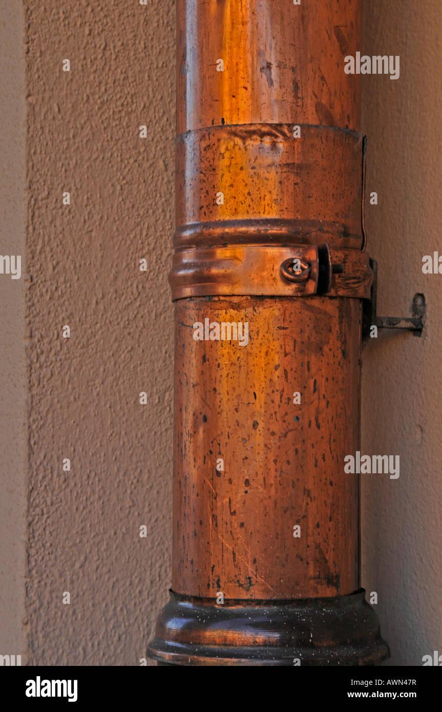 Copper drainpipe, Munich, Bavaria, Germany, Europe - Stock Image