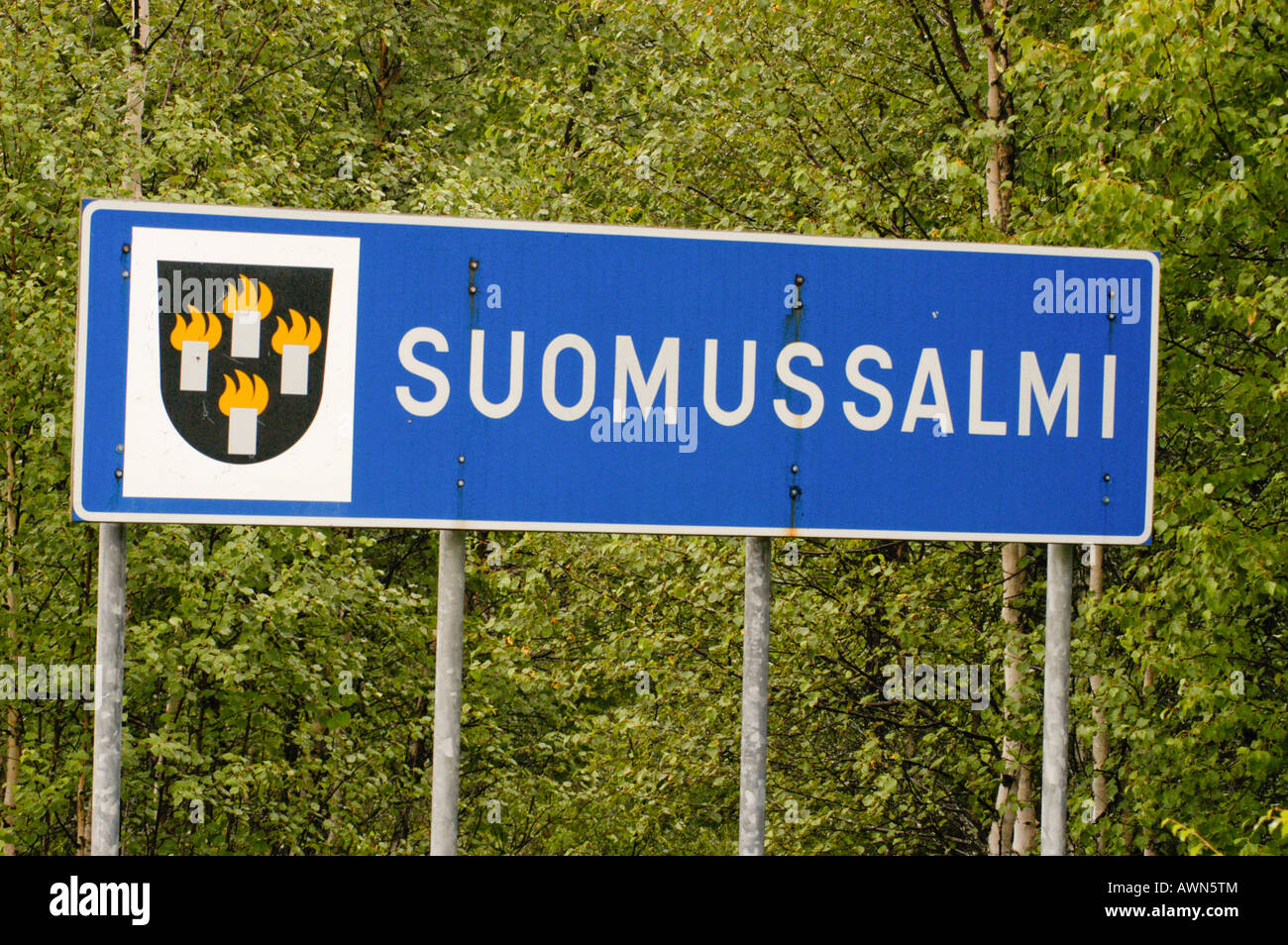 Sign, Suomussalmi, Finland, Europe - Stock Image